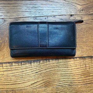 Coach Black Hampton Leather Tri-fold Wallet
